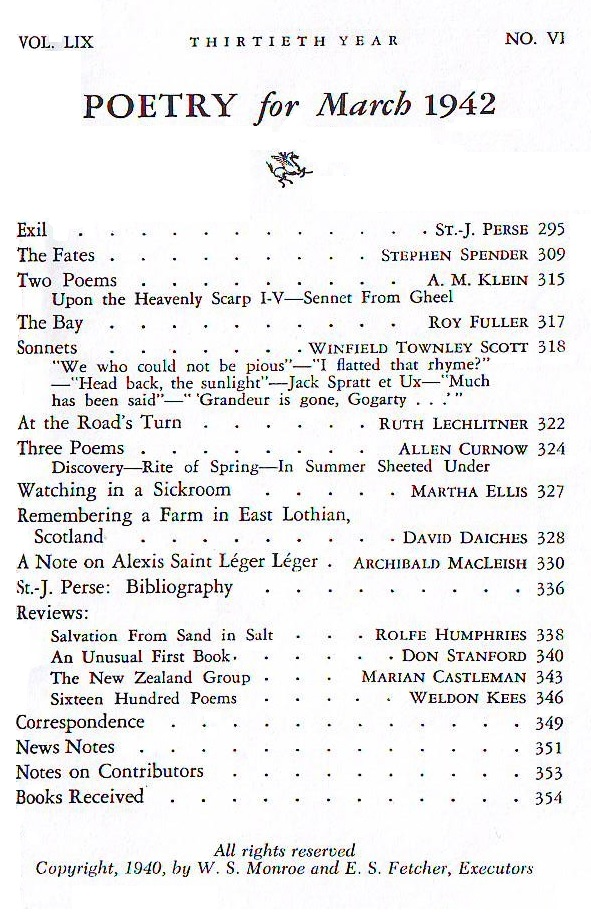 Poetry Summary March 1942