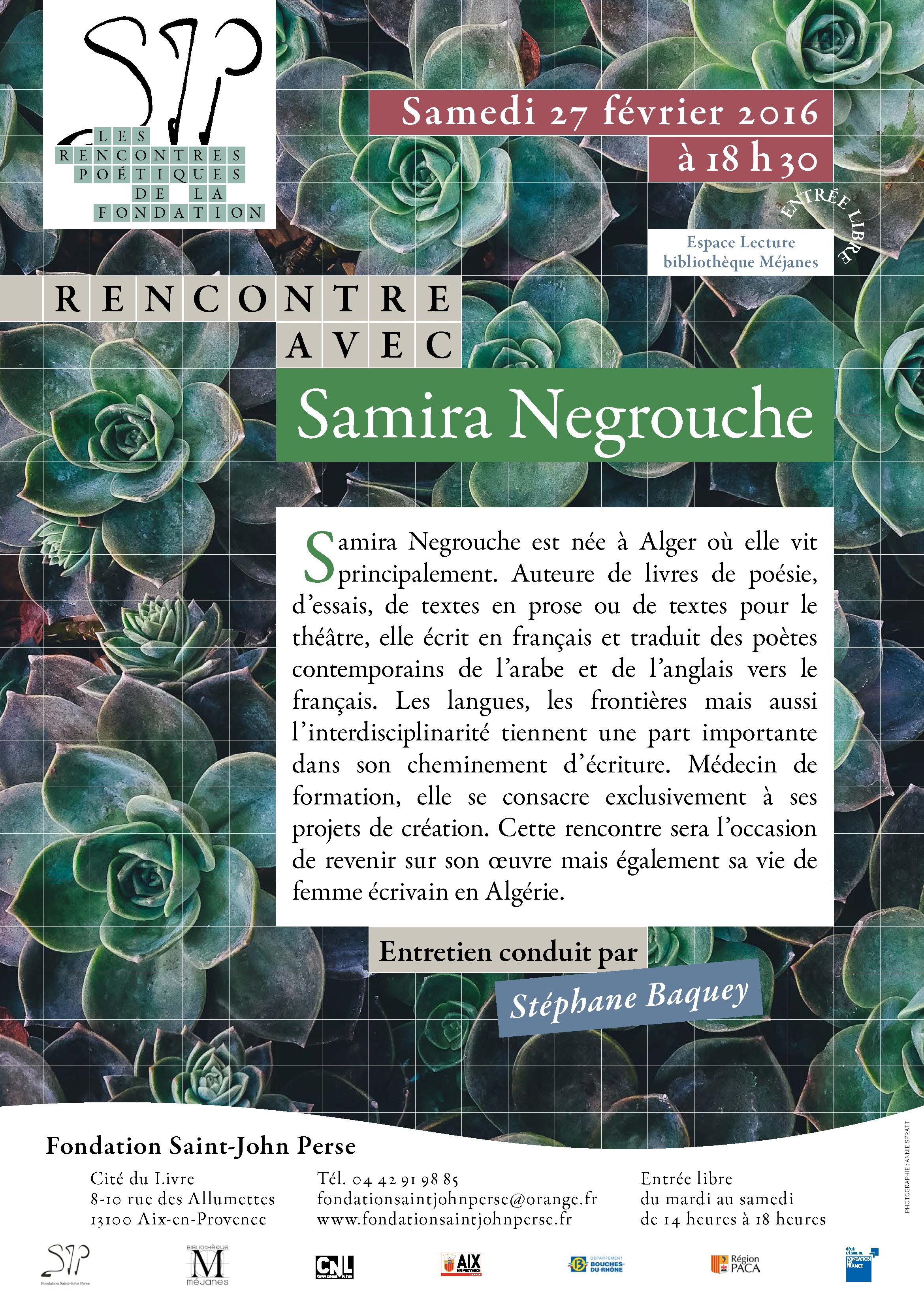 RENCONTRE POÉTIQUE avec SAMIRA NEGROUCHE 27 février 2016